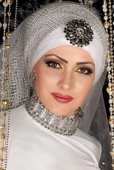 Latest Bridal Hijab Styles Dresses Designs Collection consists of Asian, desi fashion & Arabic fancy hijab dresses, gowns and frocks, maxis, etc Hijabs, Bridal Hijab Styles, Egyptian Wedding, Egyptian Fashion, Egyptian Beauty, Egyptian Goddess, Hijab Style Dress, Muslim Brides, Exotic Beauties