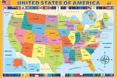 Map of the United States of America 200 pieces. Includes state capitals and mayor cities. States In Usa, States And Capitals, United States Map, States In America, America And Canada, Map Puzzle, Puzzle Box, Jigsaw Puzzles For Kids, Have Fun Teaching
