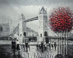Tower Bridge London, Hand painted Oil on Canvas Painting, Stretched on a frame - 20 x 24 inches. Ready to hang.
