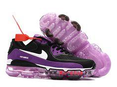 timeless design eb655 d3cce Off White X Nike Air Max 90 Gs Goutte à goutte Sneakers Femme Noir blanc  violet