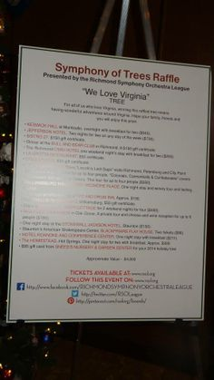 We Love VA tree list of gifts poster Easy way to share SOT raffle ticket links with friends: http://www.rsol.org/symphony-of-trees/ -general link to all 4 trees' pages or just We Love VA at http://www.rsol.org/we-love-virginia/ — at Omni Richmond Hotel.