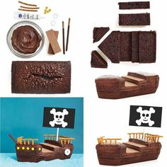 Pirate cake tutorial step by step picturesNoah's ark OR pirate ship! Pirate Birthday Cake, Pirate Cupcake, Novelty Birthday Cakes, Birthday Cake Girls, Lightning Mcqueen Birthday Cake, Pirate Ship Cakes, Boat Cake, Pirate Theme, Girl Cakes