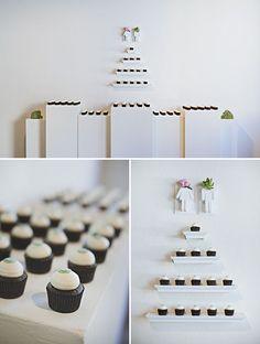 nice clean + modern presentation of the desserts
