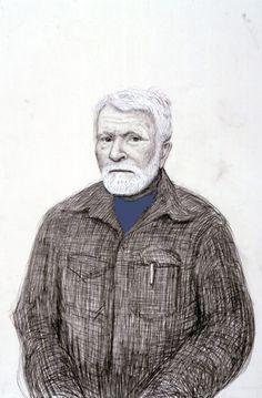 David Hockney R. B. Kitaj, Los Angeles. 5th November 1999, 1999 pencil, gouache, white crayon on grey paper using camera lucida 22 1/4 x 15 in (56.5 x 38.1 cm) 23 5/8 x 16 3/8 in (59.4 x 41.6 cm) (fr) Private collection
