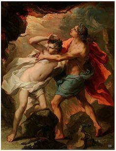 Orpheus and Eurydice.  18th century, Gaetano Gandolfi, Italian, 1734-1802, oil on canvas.
