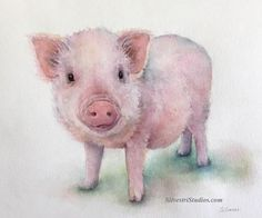 This pig watercolor is available as a cute art print and greeting cards.  Perfect for the pig art nursery and for anyone who loves farmhouse decor!  To view more animal art by Teresa Silvestri, visit www.SilvestriStudios.com  (Photo reference thanks to Prissy & Pop's Helping Hooves Rescue)