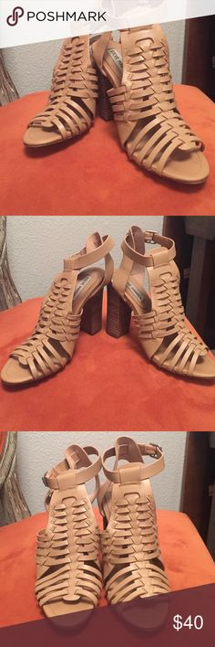 """Steve Madden 'Sadaya' heels Great pumps, worn once!  Sizing: True to size. M=standard width  🔺Open toe 🔺Cut-out woven strap detail at vamp 🔺Leather construction 🔺 Adjustable buckle strap closure 🔺Block heel 🔺Approx. 4.5"""" heel Steve Madden Shoes Heels"""