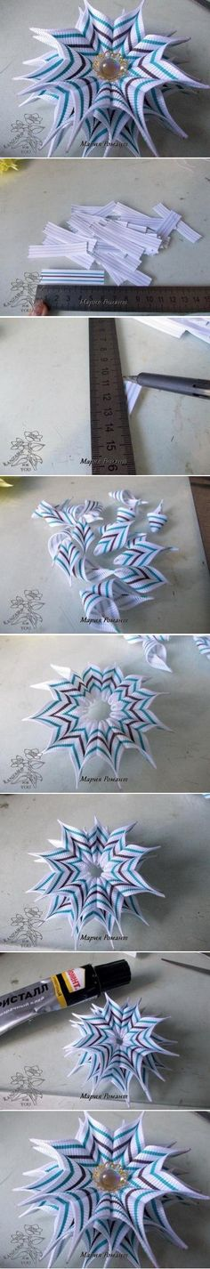 DIY Modular Prickle Flower - Would be cute embellishment on of July card or craft - Wendy Schultz ~ Tutorials. Ribbon Art, Fabric Ribbon, Ribbon Crafts, Flower Crafts, Ribbon Bows, Ribbons, Ribbon Flower, Diy Crafts, Handmade Flowers