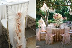 love these ruffle chair covers!  {neutral ruffled chair cover photo by Phyllis Lane via Southern Weddings; romantic pink ruffles photo by Michael and Anna Costa Photography viaWildflower Linens}