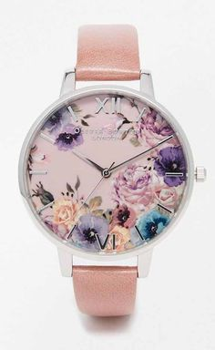 Olivia Burton Enchanted Garden Rose & Silver Watch at ASOS. Cute Watches, Stylish Watches, Bracelet Cuir, Bracelet Watch, Bracelets Fins, Do It Yourself Fashion, Beautiful Watches, Cute Jewelry, Fashion Watches
