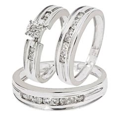 Simple and Elegant 1/2 Carat Diamond Trio Wedding Ring Set 10K White Gold with 21 total conflict free diamonds. Set includes Engagement Ring & matching His and Hers Wedding Bands. Priced at $550.99, 65% off what other high end retailers will charge customers!