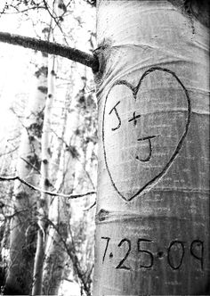 save the date carved in tree... now this is super cute