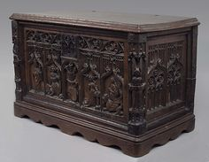 Chest Metropolitan Museum Date: late 15th century Geography: Made in Provence(?), France Culture: French Medium: Walnut, iron Dimensions: Overall: 18 1/2 x 15 1/4 x 29 7/8 in. (47 x 38.7 x 75.9 cm)