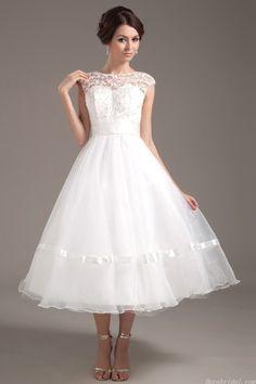 Pretty A-line Bateau Cap Sleeve Tea Length Organza Short Wedding Dress