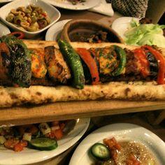 Shish kebab with salads and mezes