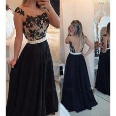 $ 134.10 black prom dress 2017 see-through back formal gowns