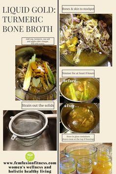 How to make Turmeric Bone Broth FemFusion Fitness Bone Broth Fast Recipe, Chicken Bone Broth Recipe, Paleo Recipes, Soup Recipes, Candida Recipes, Gaps Diet Recipes, Cheap Recipes, Fast Recipes, Copycat Recipes