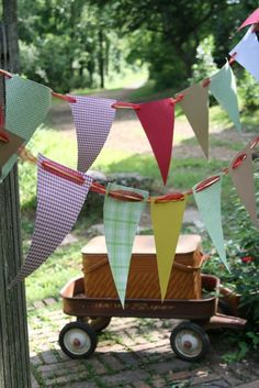 picnic/BBQ/carnival party bunting/pennant 11 1/2 by ameasuredgift, $16.00
