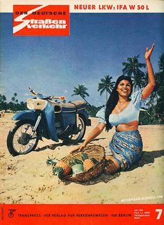 MZ ES 150 Motorcycle shot on-location - in Ceylon appearing in the cover page of the July 1965 issue of 'Der Deutsche Straßenverkehr'. Model: former miss Ceylon Shirlene De Silva Sri Lanka, Ddr Brd, Vintage Moped, Beast From The East, Central And Eastern Europe, East Germany, Hot Bikes, Motorcycle Bike, Motogp