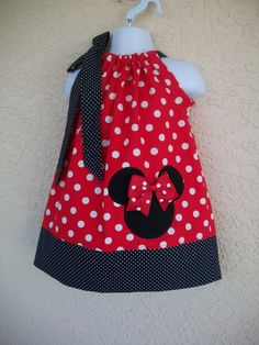 Minnie Mouse Pillowcase dress-baby toddler girls Size 3 months to 6 years old, birthday dress-vacation dress by amaritascloset on Etsy https://www.etsy.com/listing/217682836/minnie-mouse-pillowcase-dress-baby