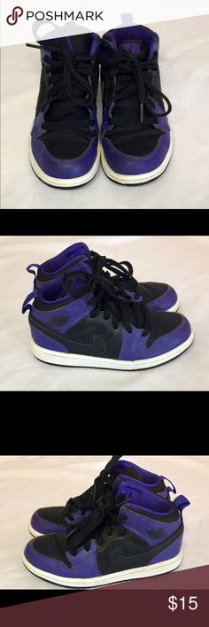 Black and Purple Jordans Black and Purple with Black Laces. Some signs of wear on shoes and bottoms. Jordan Shoes Sneakers