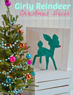 Glittery Reindeer Girl's Christmas Decor - a Silhouette Project from The Cards We Drew