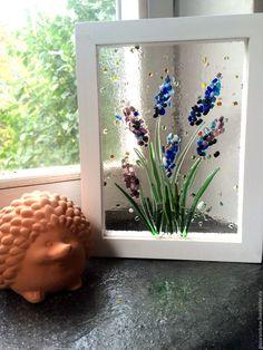 """Купить Цветочная картина """"Вспоминая лето"""" - картина из стекла, авторское стекло, картина для интерьера"""