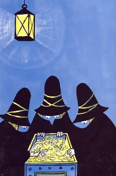 "Illustrations from ""The Three Robbers"" by Tomi Ungerer"