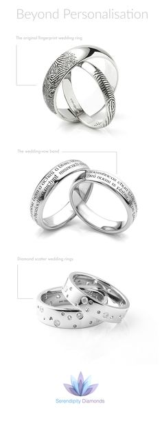 Going beyond personalisation for wedding rings. At Serendipity Diamonds we are all about brave, bold and creative adventures for the most diverse wedding rings you can imagine. Three distinctive styles include the fingerprint wedding ring, the wedding vow band and the diamond scatter ring.