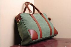 Green Leather bag Genuine leather canvas bag/ Men's by weiweihe, $49.99