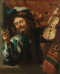Gerrit van Honthorst 	 A cheerful Violin Player who Holds a Fiddle  	 1632 	 Oil on canvas, 107.2 x 88.3 cm. 	 Rijksmuseum, Amsterdam