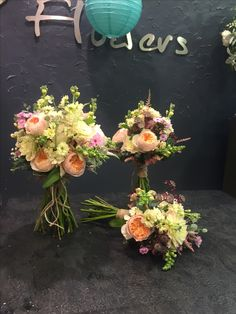 Lovely bouquets with Peach Juliet roses, cream Matthiola, gypsophila, white dahlias, burgundy astrantia, eucalyptus.