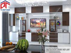 Kệ trang trí cho phòng khách gam màu trắng nâu KC233| Tủ Bếp Xinh