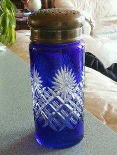 Antique Blue Cut To Clear Glass Sugar Shaker