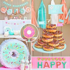 Mint & Peach Donut Party