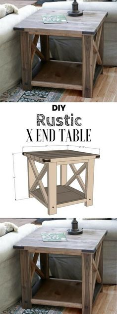 Plans of Woodworking Diy Projects - Plans of Woodworking Diy Projects - Check out the tutorial for an easy rustic DIY end table Industry Standard Design Get A Lifetime Of Project Ideas Inspiration! Get A Lifetime Of Project Ideas & Inspiration! Rustic End Tables, Diy End Tables, Diy Table, Side Tables, Pallet End Tables, Pallet Patio, Farm Tables, Coffee Tables, Furniture Projects