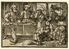 A couple seated at a desk at left; two of their children playing cards on the floor at right, a girl drinking and a boy holding a sword; illustration to a Latin edition of Sebastian Brant's 'Ship of Fools', probably that printed by Petri in Basel in 1572. c.1568-72 Woodcut