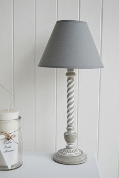 Nickel and grey tall table lamp. New England style furniture and ...