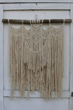 Large Macrame Wall Hanging on Driftwood in off white cotton