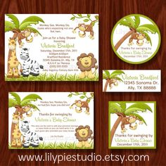 Monkey See Monkey Do Themed Twin Baby Shower by LilyPieStudio, $25.00