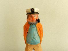 Vintage Wood Fisherman Captain Figurine Statue Hand Carved Coastal Sea Beach Ship Nautical Decor - product images  of
