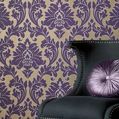 Majestic Damask Wallpaper - Designer Purple Wall Coverings by Graham  Brown