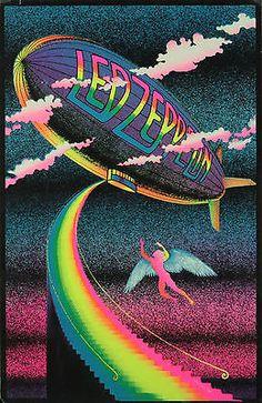 Vintage Led Zeppelin Black Light Poster Replica 13 x 19 Photo Print Led Zeppelin Art, Led Zeppelin Tattoo, Led Zeppelin Poster, Led Zeppelin Wallpaper, Rock Posters, Art Posters, Illustrations Posters, Rock Tumblr, Rock Vintage