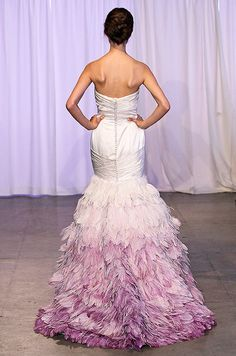 Oh...my....lanta! I have gone to Wedding Gown Heaven!!! If someone was to have crawled into my head and saw my dream gown, this is EXACTLY what it would look like! I gotta try this dress on!!!!! Feathery ombre color wedding dress by Kelly Faetanini, Fall 2013