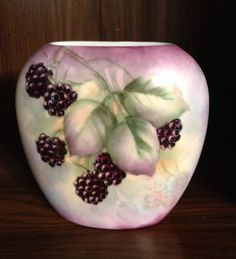 Blackberries on one side, hand painted porcelain vase