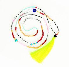Borla collar de Neon collar largo collar de abalorios de