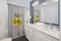 Inspirational Shower Curtains-Grey by MbiziHome on Etsy Black Bathroom Decor, Funny Bathroom Decor, Bathroom Humor, Simple Bathroom, Bathroom Ideas, Feminine Bathroom, Bath Decor, Funny Shower Curtains, Floral Shower Curtains