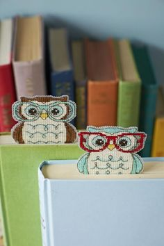 Owl bookmarks to celebrate World Book Day! Patterns from CrossStitcher magazine