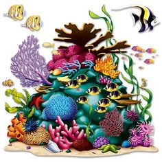 The Coral Reef Prop is stunning and brings to life one under the sea imagination. This 5 ft. 3 in. x 5 ft. 3 in. (square) plastic backdrop shows the vibrant and colorful life that can be found deep in the ocean. Anchored: Coral Reef Prop 3 x by Anchored Under The Sea Theme, Under The Sea Party, Ocean Party Decorations, Wall Decorations, Halloween Decorations, Tatoo Manga, Ocean Themes, Sea And Ocean, Party Accessories