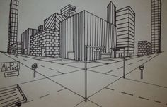 A new perspective. Two Point Perspective City, 2 Point Perspective Drawing, Perspective Images, Young Love Photography, Family Photography, City Drawing, Vanishing Point, Architecture Drawings, Urban Sketching